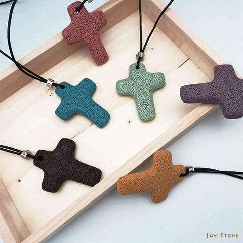 Volcanic Stone Diffuser Cross Leather Necklaces