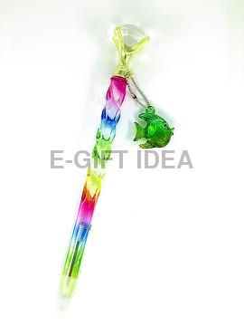 Taiwan Glossy Rainbow White Diamond Spiral-shaped Pen(with fittings