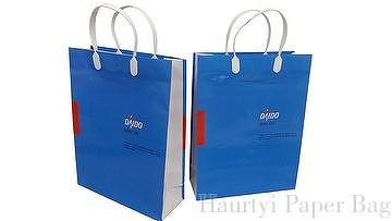 Coated paper, plastic handle, glossy lamination, solid color,  customized paper bag