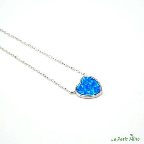 Silver Necklace Love Heart Silver Sideways