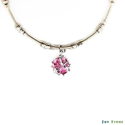 Xmas Party Queen Silver Beads Bracelet Pink Snowball