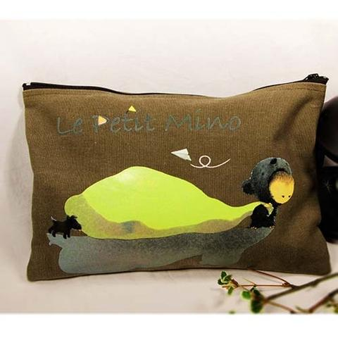Canvas Olive Green Handmade Zipper Bag Mino Pull A Bag