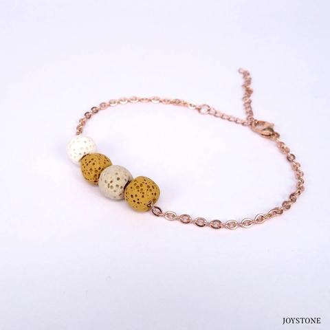 Quadruple-Bead 3 Color Yellow Aroma Rock Diffuser Bracelet