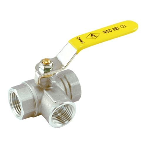 A180-3 Way Nickel Plated Forged Brass Ball Valve