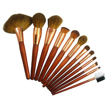 goat hair and wooden handle makeup brush Set