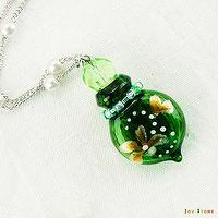 Essential Oil Diffuser Necklace Cherish Colored with Flower Aromatherapy Vial - Yellow-Green Color