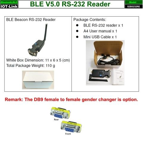 Bluetooth BLE V5.0 Beacon RS232 Reader package content