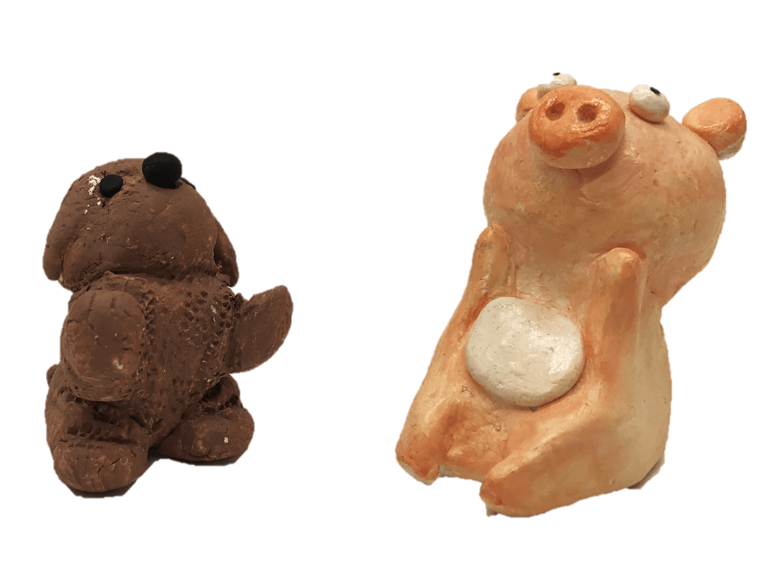 air clay pig and puppy