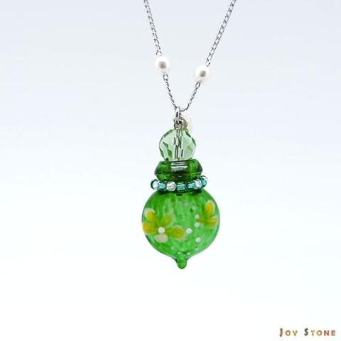 Colored with Flower Yellow-GreenVial Diffuser Necklace