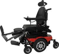 Power angle adjustable footrest module of power wheelchair