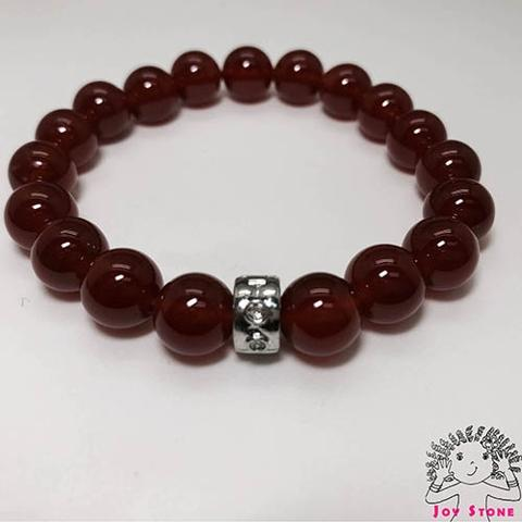 Red Agate 10mm Beaded Bracelet