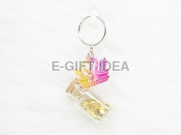 Gold Star Sequin Bottle Key Chain(with a pair of swans)