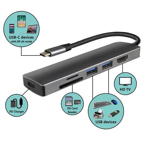 High-Quality Aluminum 5-in-1 Type C USB 3.0 Hub/Adapter