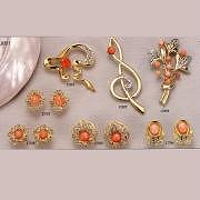 Coral Brooch and Earring