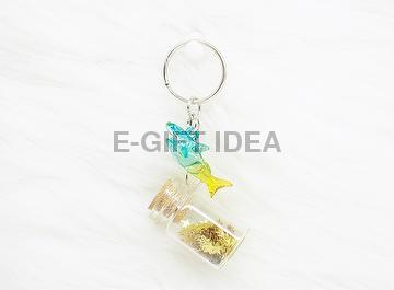 Gold Star Sequin Bottle Key Chain(with a shark)