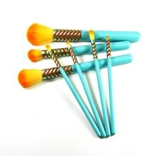 wooden handle synthetic hair cosmetic makeup brush set