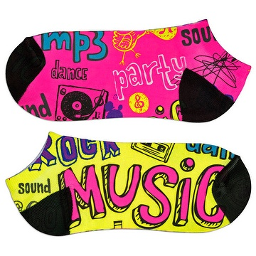 Large Fluorescent Unisex Ankle Logo Socks Full Surface by Sublimation