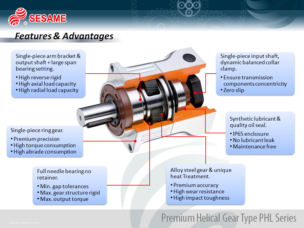 Taiwan Sesame Helical Gear Planetary Gearbox for Precise