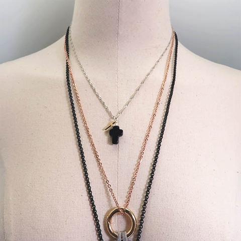 藍沙石純銀微鑲鑽鋯石x天然水晶墜飾 多層次配搭其他飾品