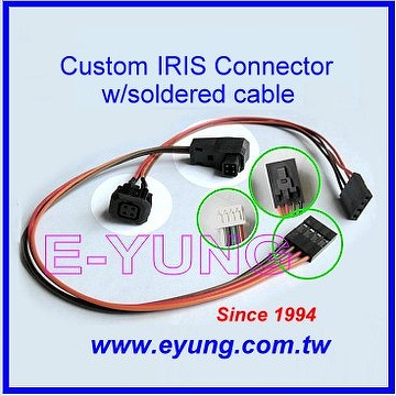 IRIS Connetor with soldered cable, CCTV Camera Jack with soldered wire