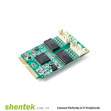 Industrial embedded 2 port RS232  Mini PCIe Isolation