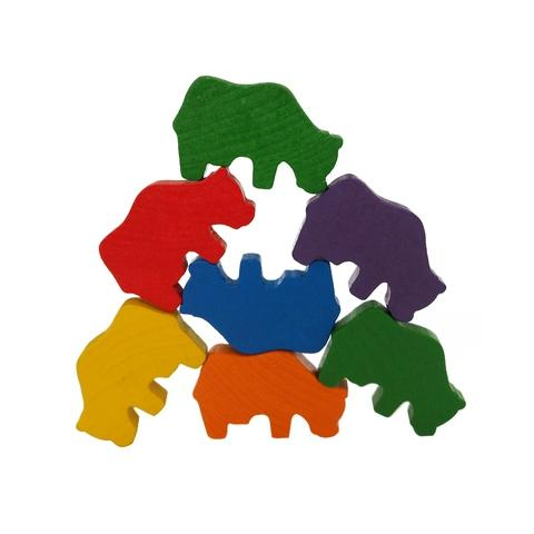 6 Colors Wooden Cow Family