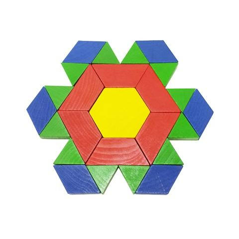 6 Colors, 6 Shapes Wood Pattern Blocks Set
