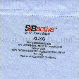 Garment heat seal without sewn-in Care label.