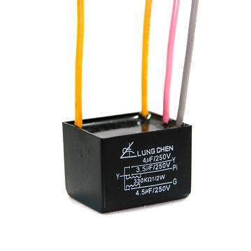 Motor speed regulation capacitor for 3-speed machines such as ceiling fan, range hood, ventilator