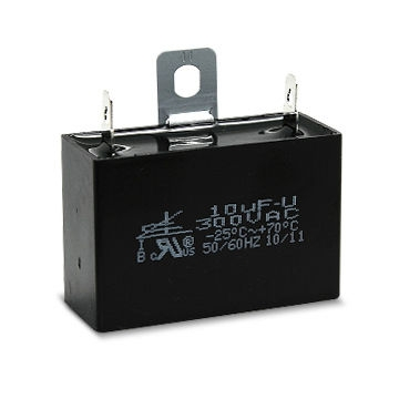 Motor Run Capacitor with PVC Insulation Wire and Mounting Metal Plates on Top of Case