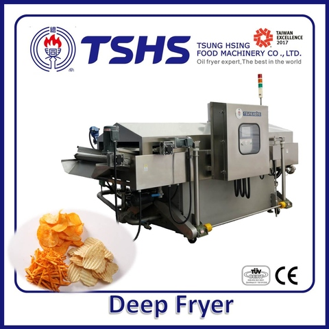 Industrial Continuous Stainless Steel Pellets Lpg Gas Fryer Machine