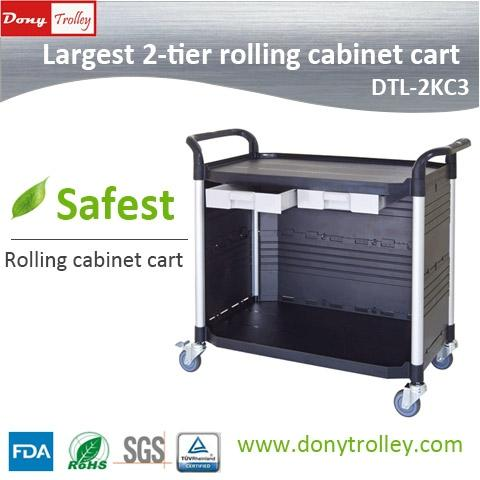 DTL-2KC3 Largest 2 tier cabinet utility carts a