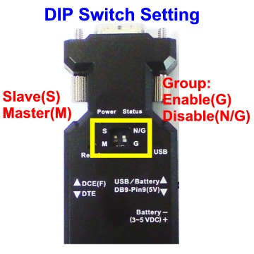Bluetooth RS-232 adapter DIP switch, Bluetooth RS232