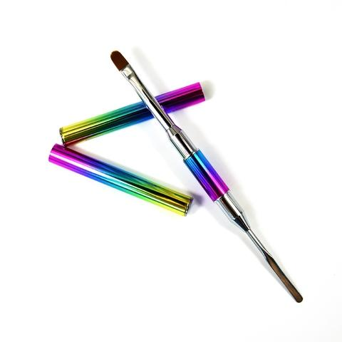 rainbow handle double end polygel nail art brush