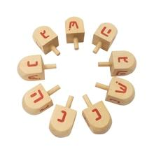 Wooden Spinning Top Red Arabic Alphabet