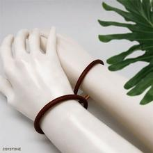 Custom Leather Magnetic Buckle Lovers Bracelets Wide 5mm Brown