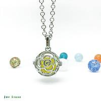 Diffuser Art Glass Locket Necklace Cutout Rose Snowflake Liuli Bead 80cm Long Chain