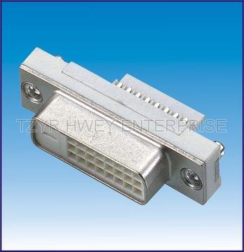 DVI 24 1 /24 5P Female Solder Connector with Screw hole
