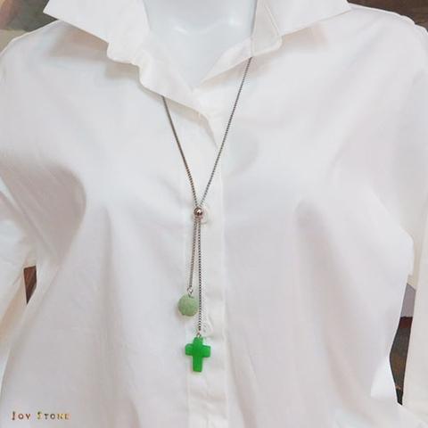綠玉十字架香氛石項鍊 天然水晶 鈦鋼中長鍊 Y字鍊
