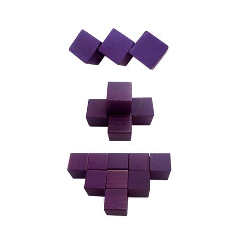 2.54 cm Purple Wood Cube