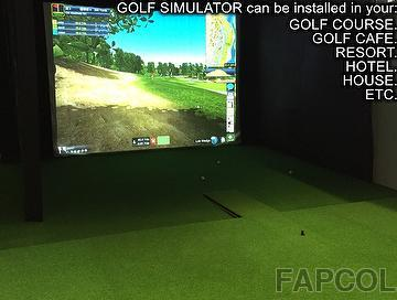 GOLF SIMULATOR with automatic ball service machine