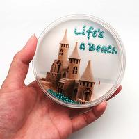 Canplow Life's a Beach Liquid filled Acrylic Paperweight, shake the floating Pearls to find the hinded Message