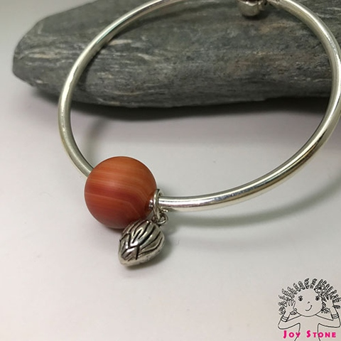 Silver Striped Agate 14mm Bead Bracelet Love Heart Silver Charm