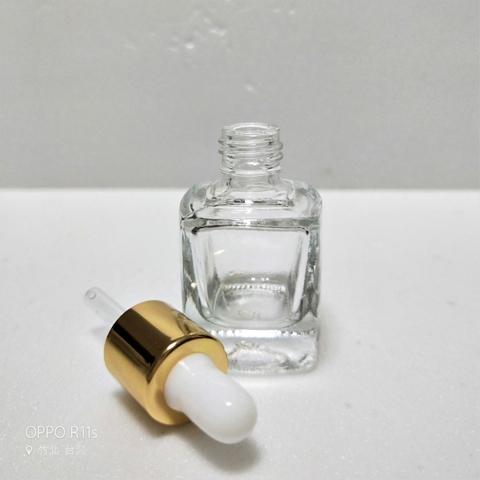 10ml Square Clear Glass Bottle With Dropper
