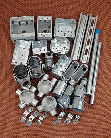 Metallic switch box and conduit & fittings