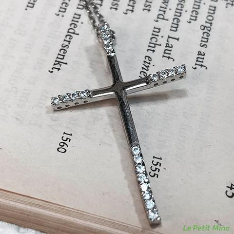 Sterling Silver Cross Necklace Four sided Round Zircon 3