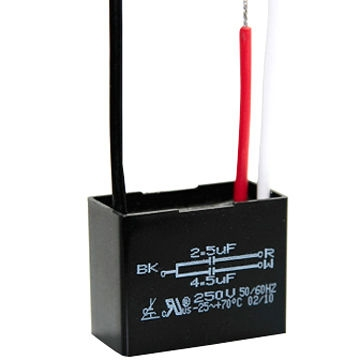 Motor speed regulation capacitor for 2-speed machines, such as ceiling fan, range hood, ventilator