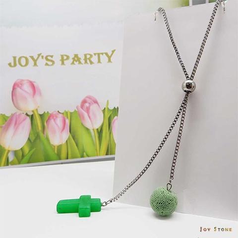 綠玉寶石十字架香氛石項鍊 天然水晶 鈦鋼中長鍊 Y字鍊