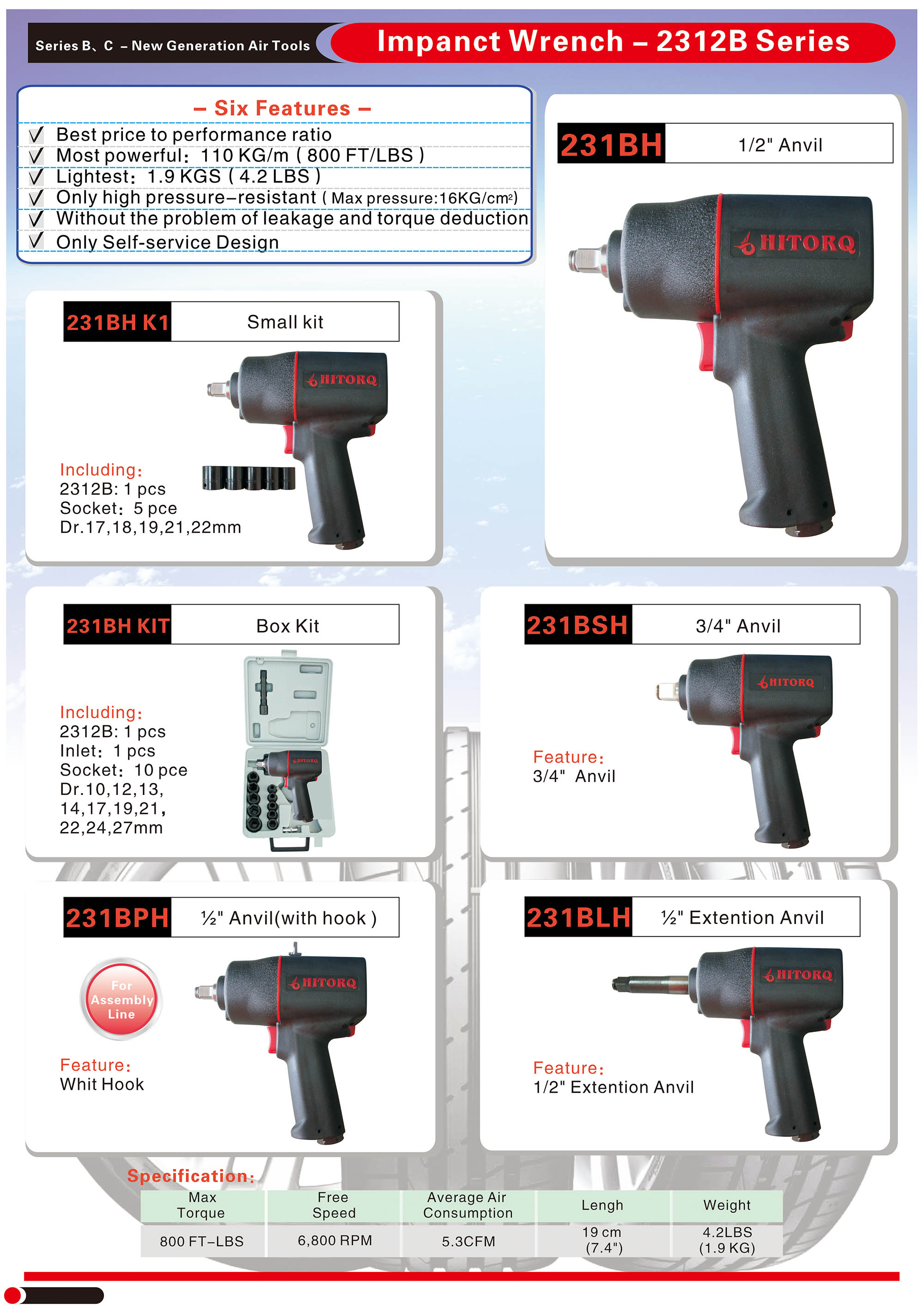 【HITORQ】【2312B】High Pressure-resistant Composite Impact Wrench