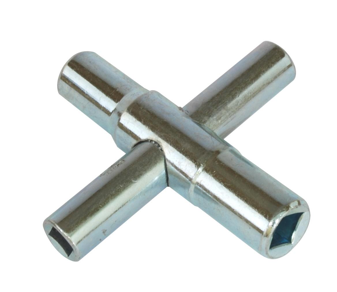 Caelus Sillcock Key Four Way Key Galvanized Steel